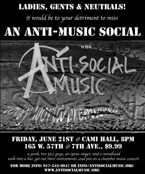 Anti-music show flyer